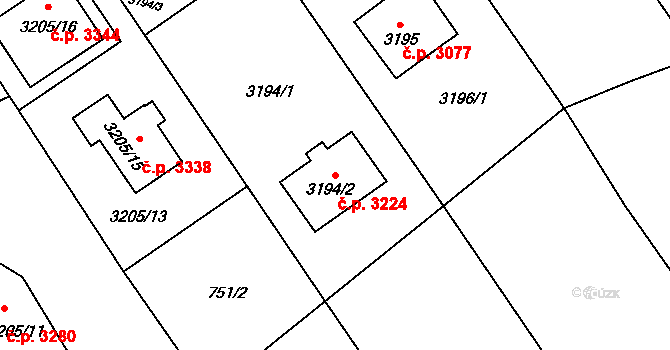 Martinov 3224, Ostrava na parcele st. 3194/2 v KÚ Martinov ve Slezsku, Katastrální mapa