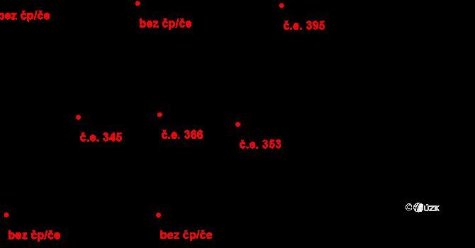Hloubětín 353, Praha na parcele st. 1343/14 v KÚ Hloubětín, Katastrální mapa