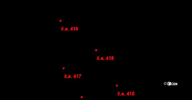 Lety 418 na parcele st. 1306 v KÚ Lety u Dobřichovic, Katastrální mapa
