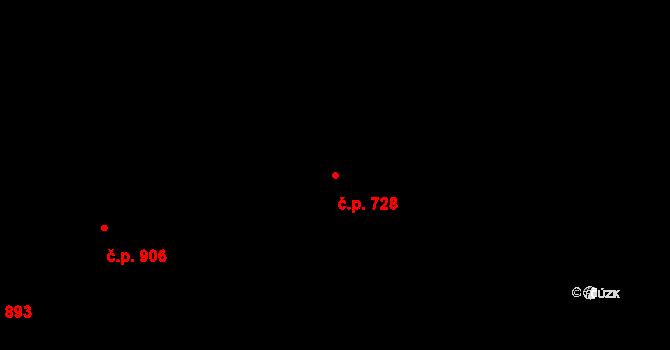 Hradec Králové 728 na parcele st. 813 v KÚ Hradec Králové, Katastrální mapa