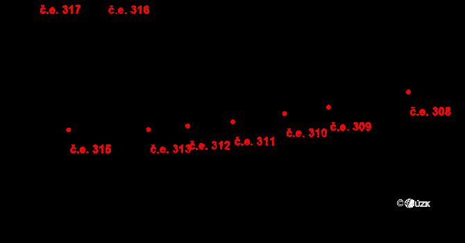 Lety 311 na parcele st. 1427 v KÚ Lety u Dobřichovic, Katastrální mapa