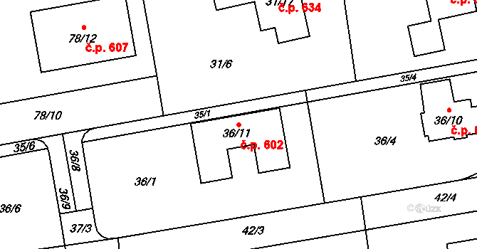 Štípa 602, Zlín na parcele st. 36/11 v KÚ Štípa, Katastrální mapa