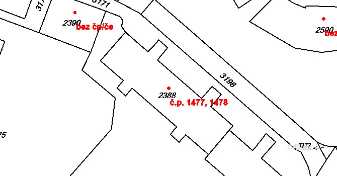 Kateřinky 1477,1478, Opava na parcele st. 2388 v KÚ Kateřinky u Opavy, Katastrální mapa