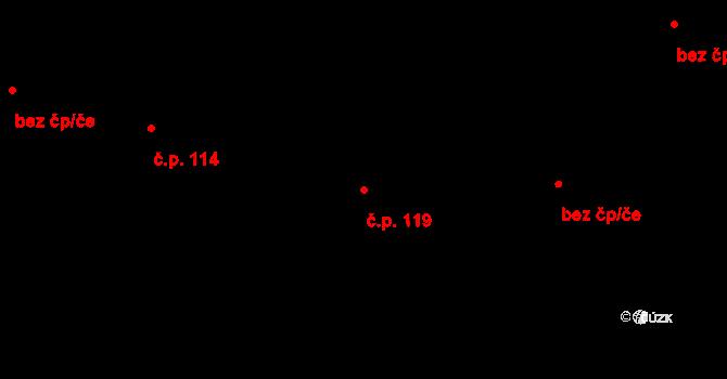 Trnová 119, Pardubice na parcele st. 243 v KÚ Trnová, Katastrální mapa