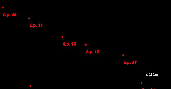 Sedlejov 12 na parcele st. 12/2 v KÚ Sedlejov, Katastrální mapa