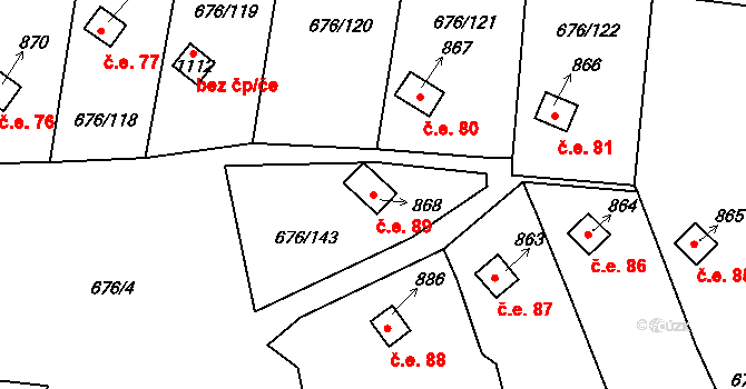 Prštné 89, Zlín na parcele st. 868 v KÚ Prštné, Katastrální mapa