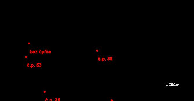 Sedm Dvorů 55, Moravský Beroun na parcele st. 72 v KÚ Sedm Dvorů, Katastrální mapa