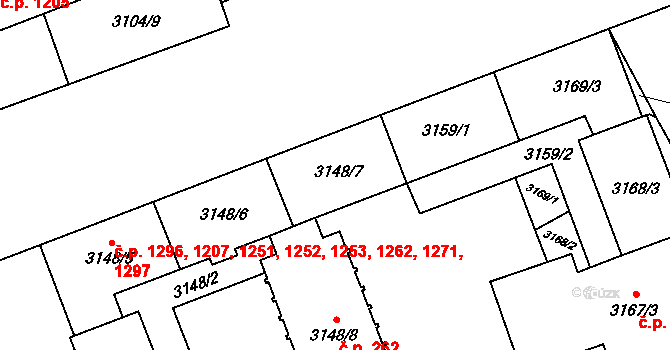Libeň 1251, Praha na parcele st. 3148/7 v KÚ Libeň, Katastrální mapa