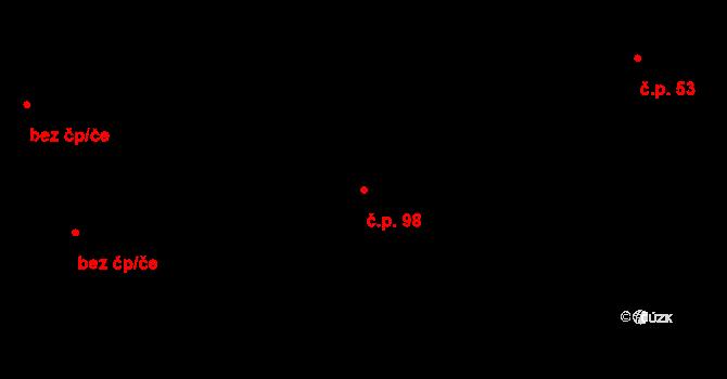 Újezd 98, Vodňany na parcele st. 134 v KÚ Újezd u Vodňan, Katastrální mapa