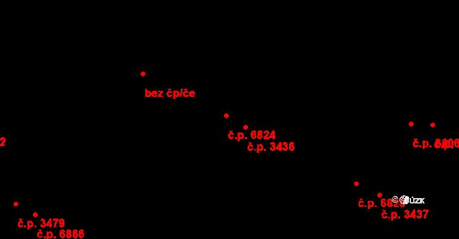 Zlín 6824 na parcele st. 4075/1 v KÚ Zlín, Katastrální mapa