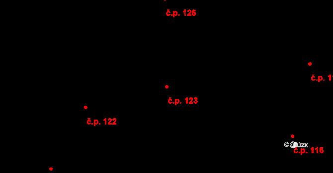 Písek 123 na parcele st. 277/10 v KÚ Písek u Chlumce nad Cidlinou, Katastrální mapa