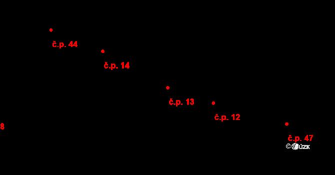 Sedlejov 13 na parcele st. 13 v KÚ Sedlejov, Katastrální mapa