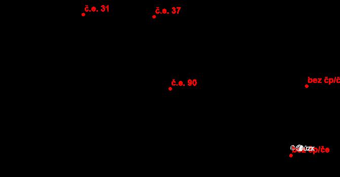 Prštné 90, Zlín na parcele st. 999 v KÚ Prštné, Katastrální mapa