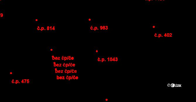 Vlašim 1043 na parcele st. 1756 v KÚ Vlašim, Katastrální mapa