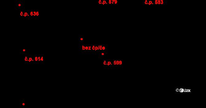 Mladcová 599, Zlín na parcele st. 1034 v KÚ Mladcová, Katastrální mapa