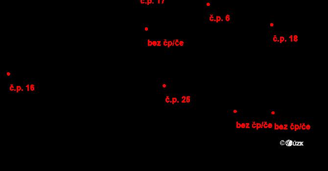 Svárkov 25, Letiny na parcele st. 27 v KÚ Svárkov, Katastrální mapa