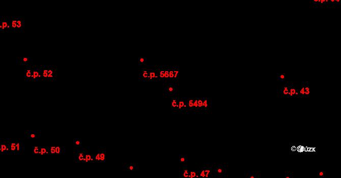 Jihlava 5494 na parcele st. 81/4 v KÚ Jihlava, Katastrální mapa