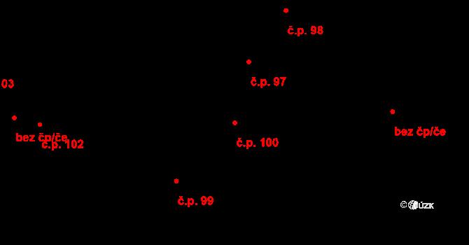 Vrbová Lhota 100 na parcele st. 100 v KÚ Vrbová Lhota, Katastrální mapa