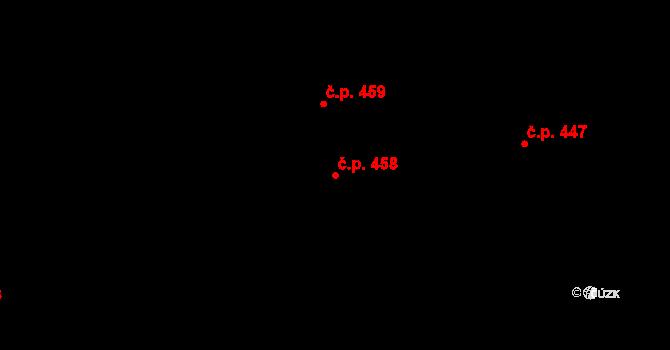 Mladcová 458, Zlín na parcele st. 827 v KÚ Mladcová, Katastrální mapa