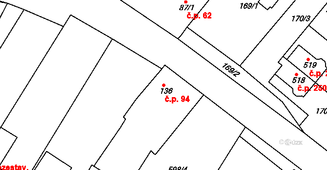 Kamenný Újezd 94 na parcele st. 136 v KÚ Kamenný Újezd u Rokycan, Katastrální mapa