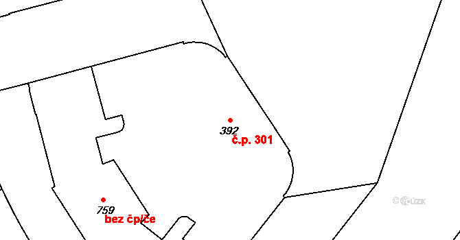 Hradec Králové 301 na parcele st. 392 v KÚ Hradec Králové, Katastrální mapa