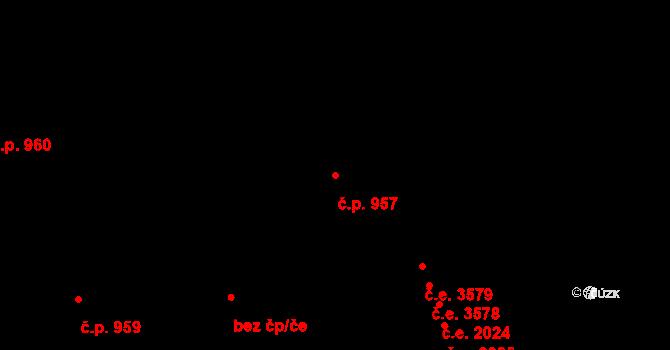 Zlín 957 na parcele st. 1566 v KÚ Zlín, Katastrální mapa