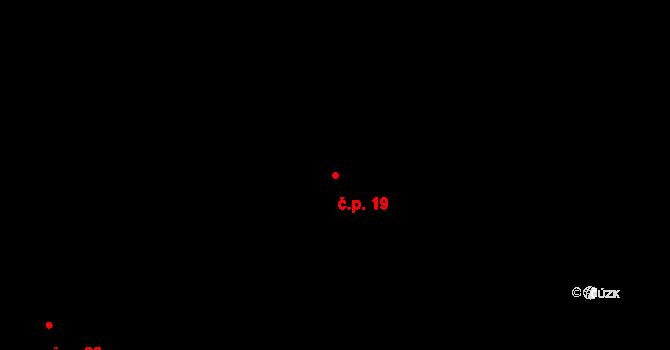 Modrá Hůrka 19 na parcele st. 69 v KÚ Modrá Hůrka, Katastrální mapa