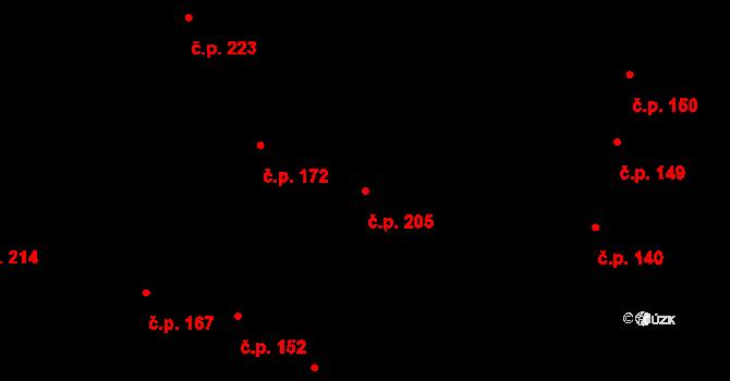 Moravské Knínice 205 na parcele st. 133 v KÚ Moravské Knínice, Katastrální mapa