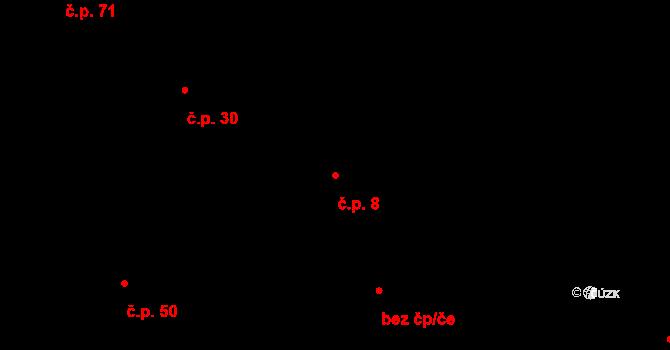 Malé Březno 8 na parcele st. 4/1 v KÚ Malé Březno, Katastrální mapa