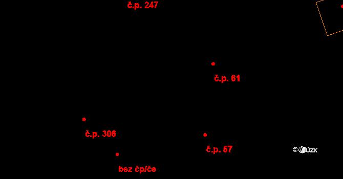 Tři Dvory 61 na parcele st. 61 v KÚ Tři Dvory, Katastrální mapa