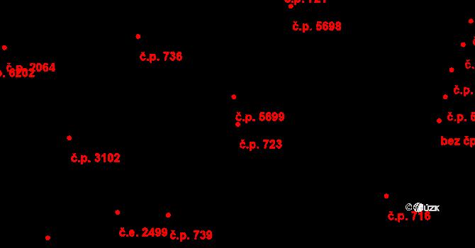 Zlín 723 na parcele st. 4282/1 v KÚ Zlín, Katastrální mapa