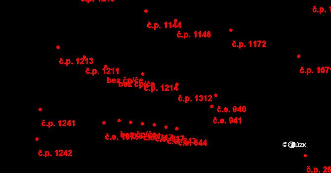 Aš 1312 na parcele st. 1457 v KÚ Aš, Katastrální mapa