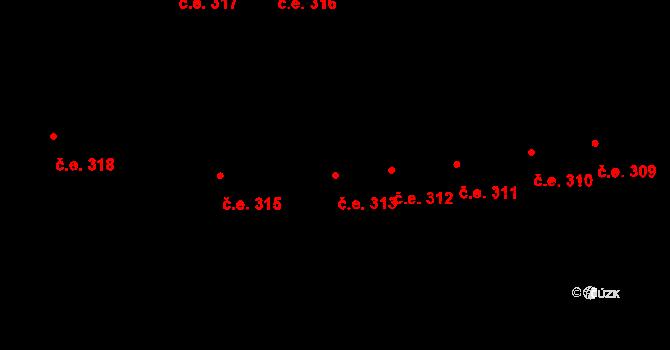 Lety 313 na parcele st. 1431 v KÚ Lety u Dobřichovic, Katastrální mapa