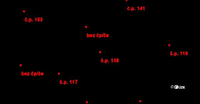 Nová Ves u Nového Města na Moravě 118 na parcele st. 368 v KÚ Nová Ves u Nového Města na Moravě, Katastrální mapa