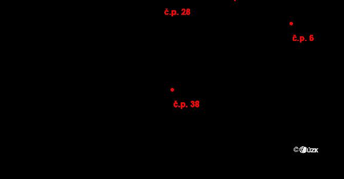 Rytířova Lhota 38, Libošovice na parcele st. 71 v KÚ Rytířova Lhota, Katastrální mapa