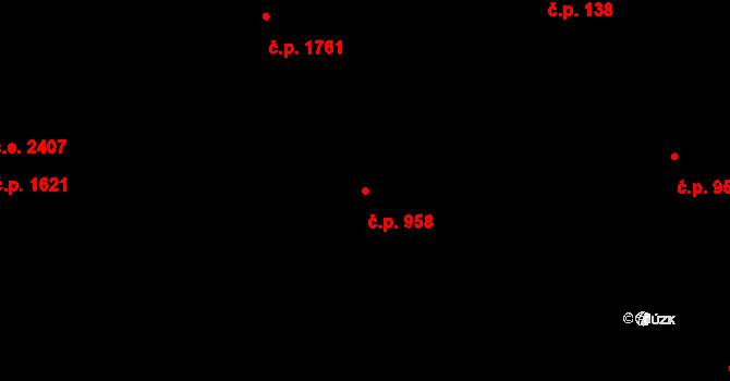 Zlín 958 na parcele st. 1615 v KÚ Zlín, Katastrální mapa