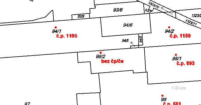 Brno 39476090 na parcele st. 98/2 v KÚ Černovice, Katastrální mapa