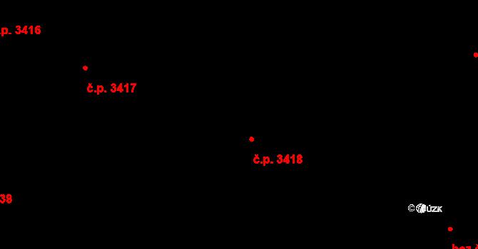 Židenice 3418, Brno na parcele st. 17/1 v KÚ Židenice, Katastrální mapa