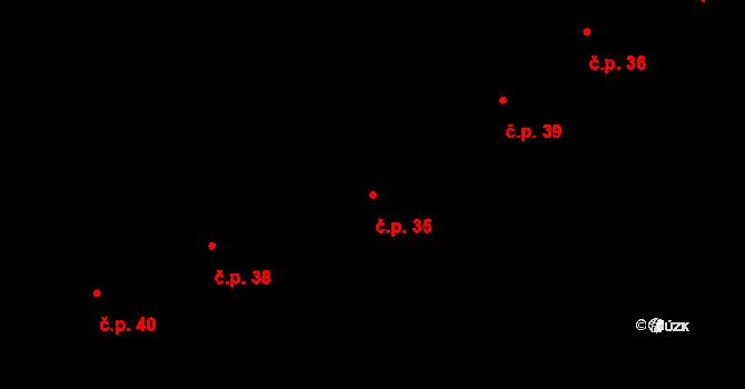 Žďár 35 na parcele st. 5 v KÚ Žďár u Blanska, Katastrální mapa