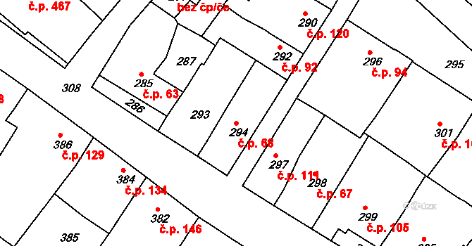 Čejč 68 na parcele st. 294 v KÚ Čejč, Katastrální mapa