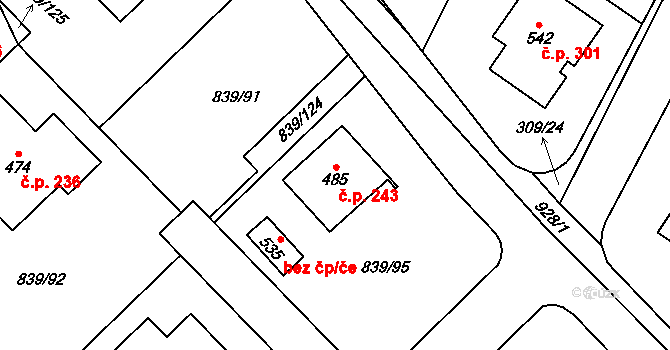 Vtelno 243, Most na parcele st. 485 v KÚ Vtelno, Katastrální mapa