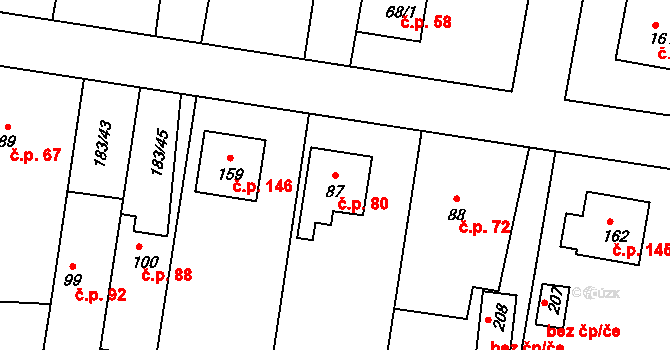 Lhota 80, Háj ve Slezsku na parcele st. 87 v KÚ Lhota u Opavy, Katastrální mapa