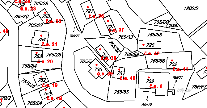 Lhota 38, Plzeň na parcele st. 729 v KÚ Lhota u Dobřan, Katastrální mapa