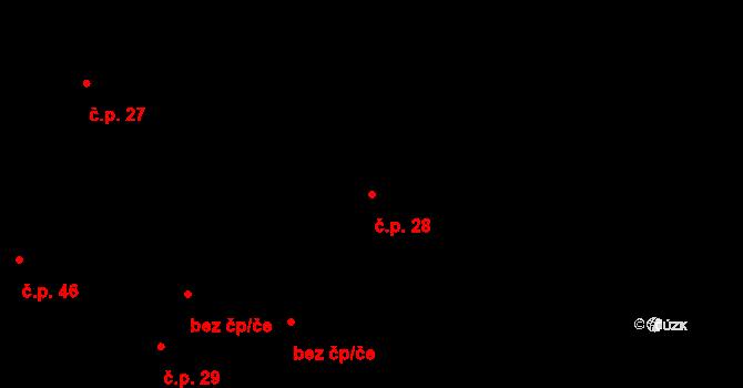 Stránka 28 na parcele st. 52/2 v KÚ Stránka u Mšena, Katastrální mapa