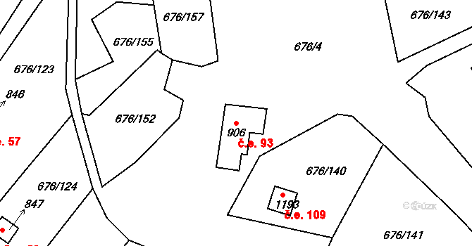 Prštné 93, Zlín na parcele st. 906 v KÚ Prštné, Katastrální mapa