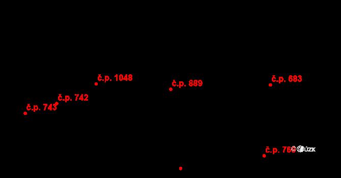 Bojkovice 889 na parcele st. 2331 v KÚ Bojkovice, Katastrální mapa