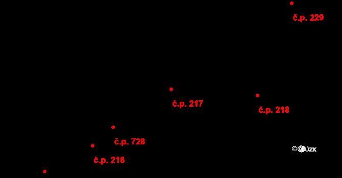 Kudlov 217, Zlín na parcele st. 317 v KÚ Kudlov, Katastrální mapa