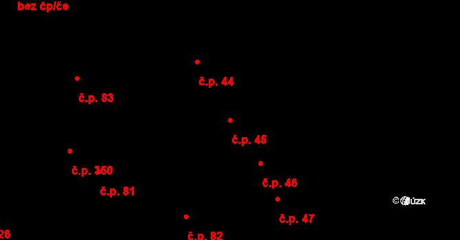Újezdec 45, Uherský Brod na parcele st. 7 v KÚ Újezdec u Luhačovic, Katastrální mapa
