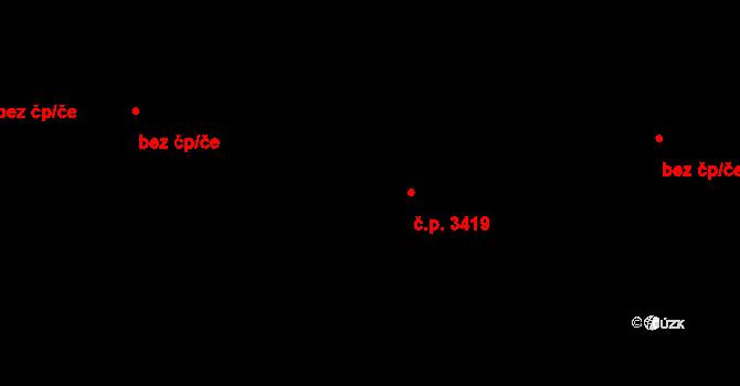 Židenice 3419, Brno na parcele st. 19/1 v KÚ Židenice, Katastrální mapa