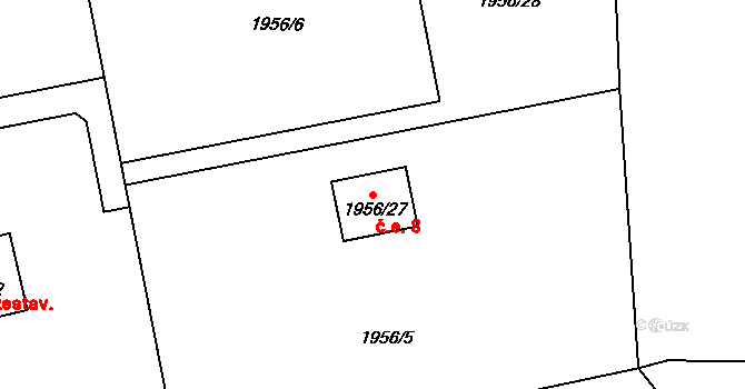 České Budějovice 2 8, České Budějovice na parcele st. 1956/27 v KÚ České Budějovice 2, Katastrální mapa